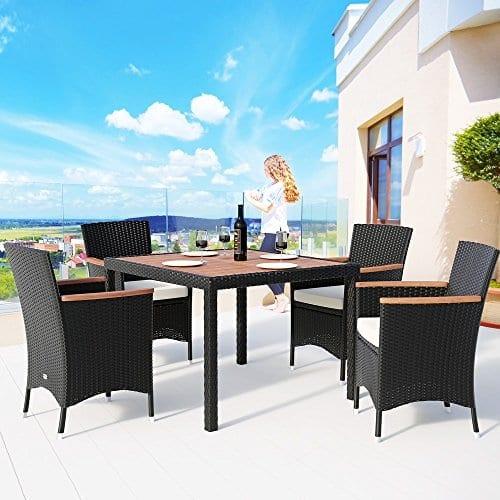 Deuba Poly Rattan Sitzgruppe 4 Stapelbare Stühle 7cm Auflagen Gartentisch 90x90 cm Akazie Holz ...